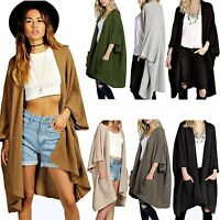 New Womens Ladies Oversized Pocket Baggy Knitted Jumper Cardigan Cape Top