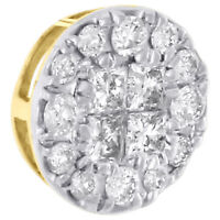 14K Yellow Gold Princess & Round Diamond Circle Slide Pendant Mini Charm 1/4 Ct.