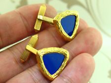 Cartier 18k Yellow Gold Cluff Links with Lapis Gem Stone