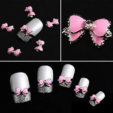 Charm 10PCS 3D Alloy Rhinestone Bow Tie Butterfly Nail Art Decoration Stickers