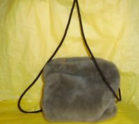 Vtg. Faux Fur Muff Leather Lined  Made In Italy Purse With Neck Cord
