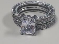 Victoria Wieck Vintage 4 CT Topaz 10KT White Goldfilled Ring Set Size 6