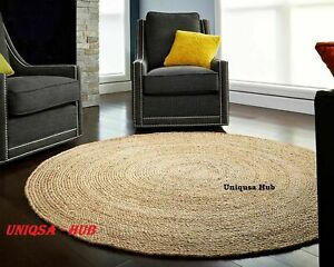 Natural Jute Round Reversible Rug area floor mats modern living stylish area rug