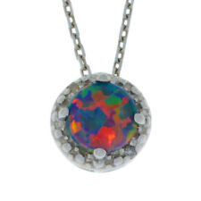 Black Opal & Diamond Round Shape Pendant .925 Sterling Silver