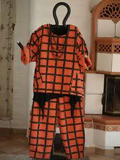 1967 LABASS Karo Kurz Shirt CAROLA mandarin schwarz kariert L XL 44 46 48