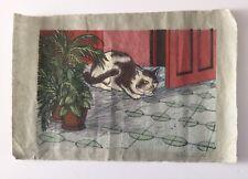 Angel Guzman, Signed Cat Woodcut 1987, Caribbean, Grabado Puerto Rico Art
