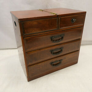 Antique Keyaki and Kiri Wood Sewing Box Japanese Drawers Circa 1900s #1051