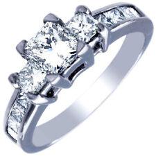 GIA Certified Diamond Engagement Ring 1.40 CTW Princess 18k White Gold