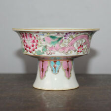 Chinese Old Marked Famille Rose Colored Dragons Pattern Porcelain High-Foot Bowl