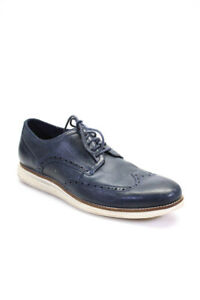 Cole Haan Grand.OS Mens Leather Lace Up Oxford Shoes Blue Size 10 Medium