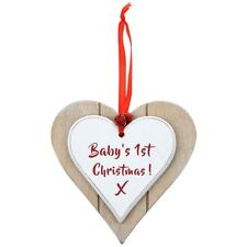 Vintage Baby's 1st First Christmas Heart Shaped Wooden Plaque Gift LP40749