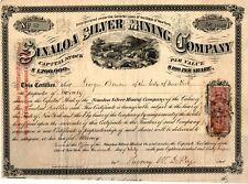 Sinaloa Silver Mining Company Stock Certificate - 1867 - Number 52 20 Shares
