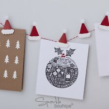 SANTA HAT CHRISTMAS CARD HOLDER KIT (With PomPoms!) -Pegs/Twine- Xmas Decoration