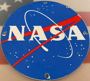 VINTAGE NASA PORCELAIN SIGN GAS OIL MEATBALL ROCKET SHUTTLE SPACE AGENCY FORCE