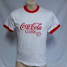 VTG 80s Coca Cola T Shirt Coke Ringer 50/50 Screen Stars Thin Tee Classic 70s XL