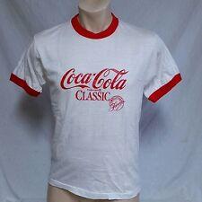 VTG 80s Coca Cola T Shirt Coke Ringer 50/50 Screen Stars Thin Tee Classic 70s XL
