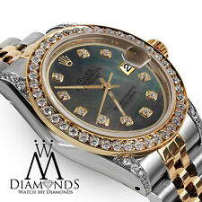 Rolex Ladies 78273 Datejust 2 Tone 31mm Black Mother Of Pearl Diamond Dial Watch