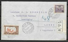 Tunesia covers 1914 mixed franked R-cover Tunis RP to Leeds
