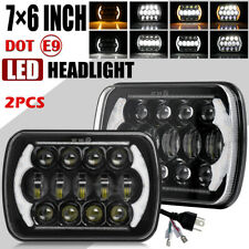 "Pair 7X6"" 5X7"" HI-Lo DRL LED Headlights for Dodge W250 D350 Ram Dodge Ramcharger"