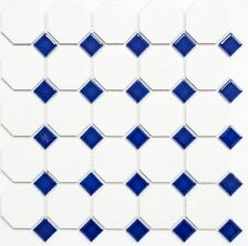 Mosaic tile Ceramic white matt surface + blue glossy 13-OctaG464_f | 10 sheet