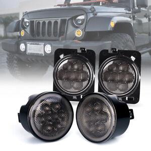 LED Turn Signal w/ Halo DRL&Fender Side Light Smoke Lens for 07-18 Jeep JK JKU