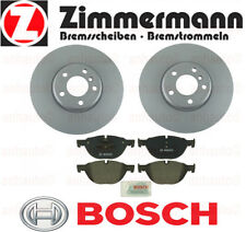 Set of 2 Zimmermann Front Rotors & Bosch Pads BMW  528i 550i 650i 740Li 740i