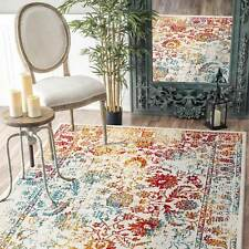 Red Gold Area Floor Rug Floral Border Traditional Distressed Carpet 160x230cm