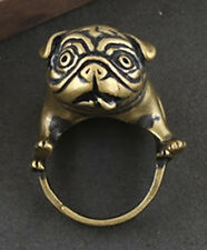 Bulldog Pug Copper Ring Animal Lover Punk Unusual Unique Both Mens Womens Gift