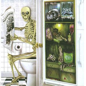 HALLOWEEN DOOR POSTER HORROR BANNER DECORATION GHOST TOILET FRIDGE SPOOKY COVER