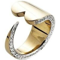 AAA Zircon Eternity Heart Shaped Rings Love Promise Gold Rings CZ Opening Rings