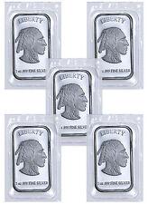 1 Troy Oz .999 Fine Silver Buffalo Liberty Bar - Lot of 5 Bars (Sealed) SKU41777