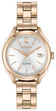 Citizen Eco-Drive LTR Women's Rose Gold-Tone Silver Dial 34mm Watch FE6143-56A