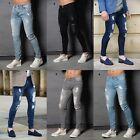 Mens Super Skinny Stretch Denim Enzo Designer Distress Rip Repair Stylish Jeans