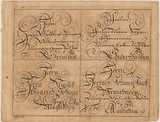 Kalligrafie AUSNAHME Original BRÜHL Kupferstich um 1720 Handschrift Schrift