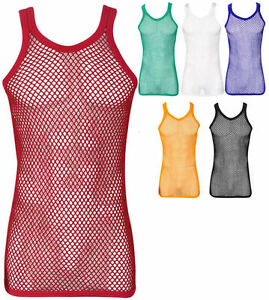 FITTED 100% Cotton String Vest Mesh Muscle Fishnet Tank Top