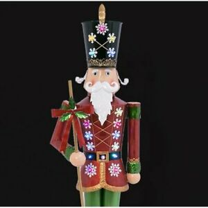 4' Christmas Nutcracker Metal Battery Operated Outdoor Holiday Lights Yard Decor