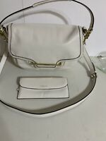 Coach Taylor Leather Flap Shoulder Bag and Wallet White Cross Grain