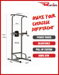 Q Sports Gym Power Tower Pull Up Chin Up Dip Station Leg Raises Multi functional