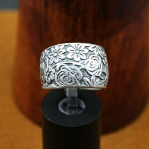 """SILPADA Oxidized """"Flower Garden"""" Etched Wide Band Ring Sterling Silver R1583"""
