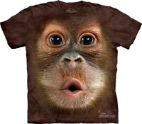 Big Face Baby Orangutan T-Shirt by The Mountain. Giant Head Monkey Animal S-5XL