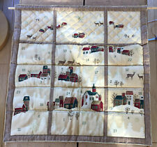 Hand Made Fabric Golden  Quilted Xmas  Advent Calendar Hand stitched,new