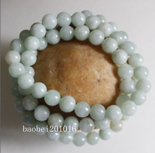 Certified Natural Untreated Light Green Jadeite Jade Round Beads Necklace 8mm