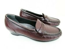 SAS Easier Burgundy Leather Tri-Pad Comfort Loafer Shoes Women's 7.5 M