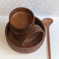 Vintage Teak Wood Salad Serving Bowl Set With Serving Spoon From Thailand