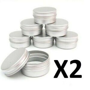2 X Aluminium Jar Pot travel Bottle Box Container storage Tin lid tub Cosmetic
