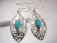 Turquoise Marquise Filigree 925 Sterling Silver Dangle Earrings Corona Sun