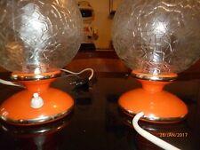2 lampes space age boules  chevet verre craquele orange 1970