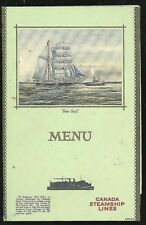 """Menu Promotional Fold-out """"Sea Gull"""" Canada Steamship Lines c1930s"""