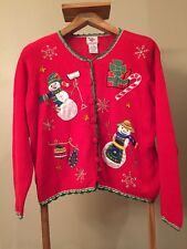 Ugly Christmas Sweater Womens 1X Plus Button Up Snowman Present  Green Red Xmas