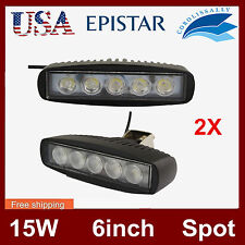 2X 6INCH 15W LED WORK LIGHT BAR Spot/Flood OFFROAD DRIVING 4WD LAMP ATV UTE 12V